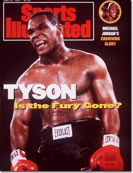 Mike Tyson, boxing; inset- Michael Jordan and the Bulls win NBA Title
